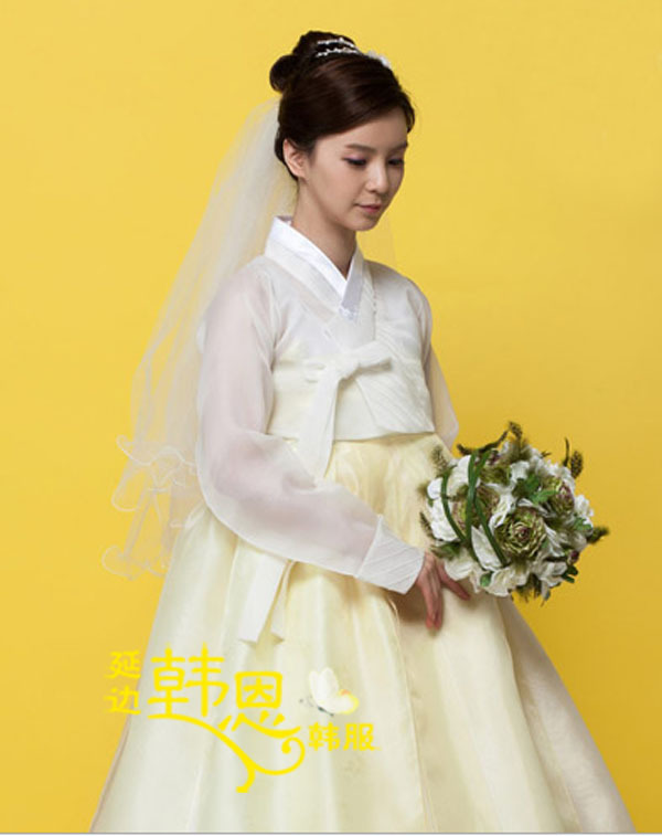 Traditional korean woman hanbok custom made bride wedding for Hanbok wedding dress