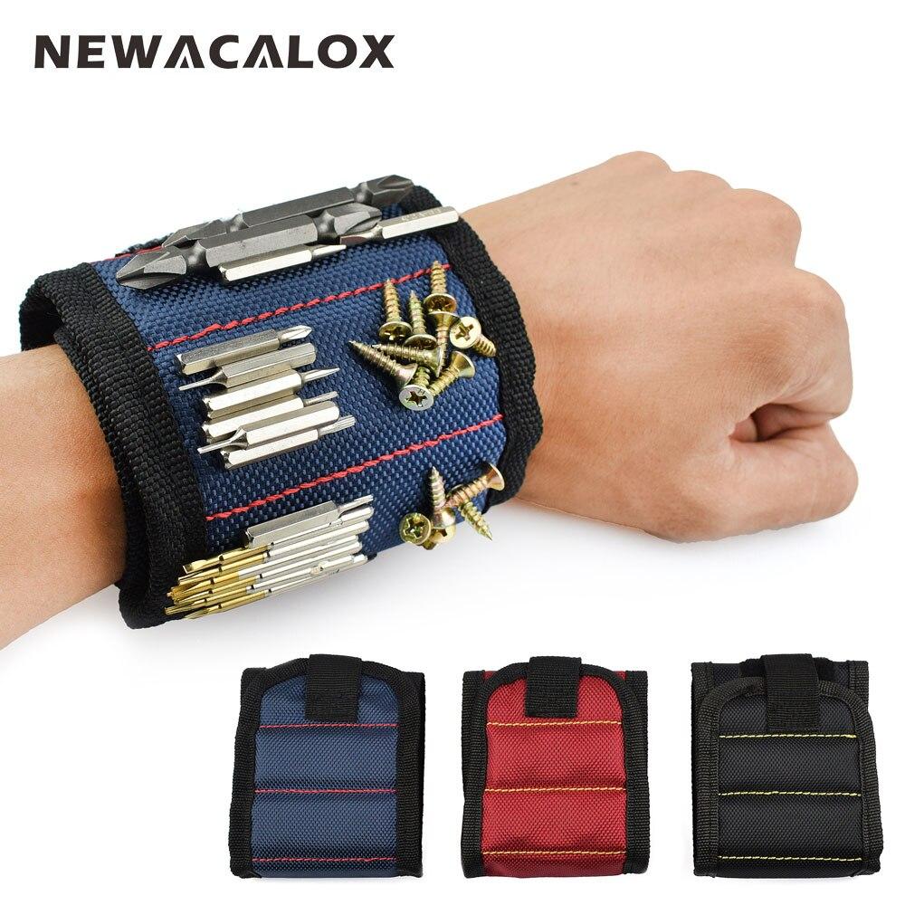 NEWACALOX poliéster pulsera magnética portátil herramienta bolsa electricista muñeca herramienta Correa tornillos clavos brocas soporte herramientas de reparación