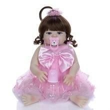 22 inch vinyl Silicone Reborn Baby with pink dress Alive Girl Doll Toy Bebe reborn Boneca fashion Curly Hair doll Birthday gift матрас lonax ппу tfk 200x190