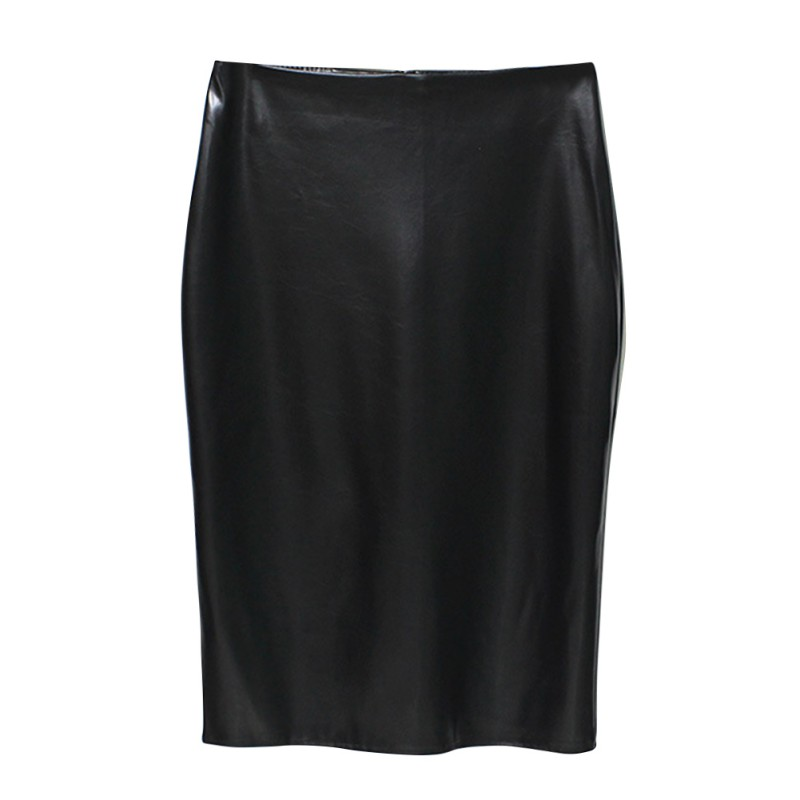 Summer Office LA Style Women PU A-Line Jag Package Hip skirtShort Skirts 5 Color Work Female kilt
