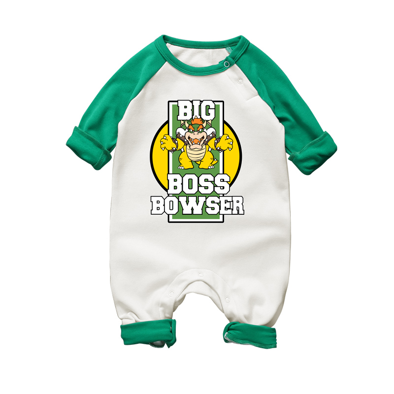 2017 New Fashion Newborn Baby Ropmer Cartoon Super Mario Big Boss Bowser Long Sleeve Baby Boy Girl Clothes Cotton Baby Rompers(China)