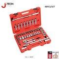 Jetech 48 шт. 1/2 micro standard deep метрических и дюйма ассорти набор торцевых ferramentas авто гараж инструменты коробка пожизненная гарантия