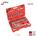 Jetech 48 peça 1/2 micro padrão profundo metric polegadas assorted caixa de ferramentas conjunto de soquete ferramentas auto garagem garantia vitalícia