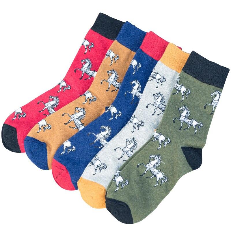 Fashion Men Socks Cartoon Creative White Horse Business Cotton Breathable Colorful Cozy Cool Male Animal Crew Funny Socks