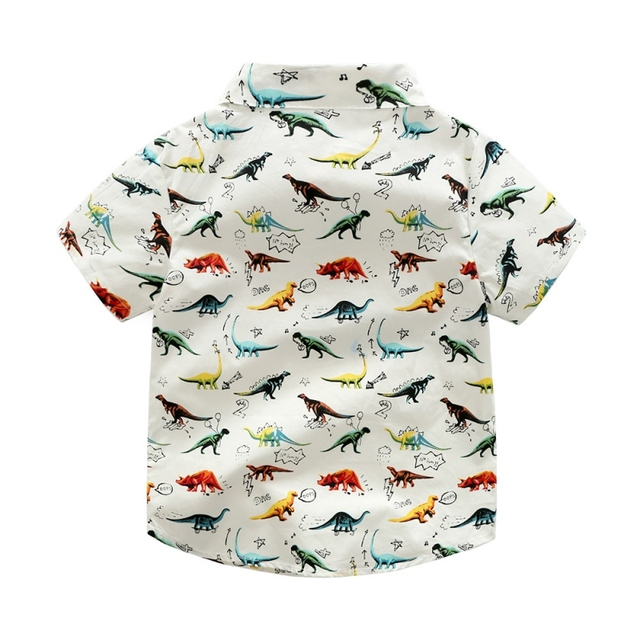 Summer Baby Boys Shirt Dinosaur Casual Cartoon Wild Short-Sleeved Clothes Children's Clothing Shirt  0-6Y