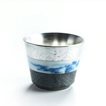 999 Pure Silver Silver Tea Cup Single Blue And White Porcelain Kungfu Teaware Articles Tea Cup Master Cup Health Cup Handmade