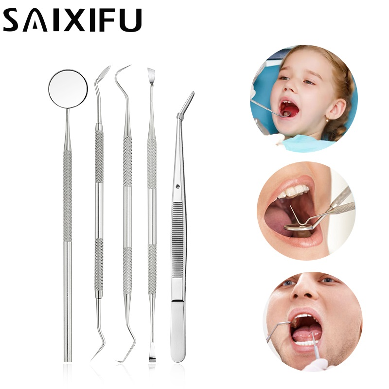 5Pcs/Set Stainless Steel Dental Loupes Mirror Sickle Scaler Teeth Pick Dental Dentist Gift Oral Care Tooth Cleaning Kit DT115Pcs/Set Stainless Steel Dental Loupes Mirror Sickle Scaler Teeth Pick Dental Dentist Gift Oral Care Tooth Cleaning Kit DT11