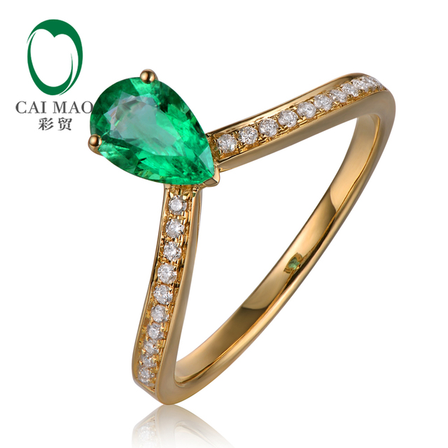 Caimao Jewelry 14k Yellow Gold 0.59ct Natural Emerald and 0.11ct Diamond Engagement Ring