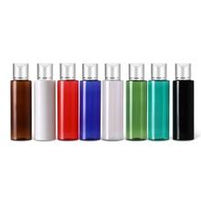 50 Pcs 100 Ml 120 Ml 150 Ml Bottiglie di Plastica Vuote Bottiglie di Crema di Alluminio Argento Tappo Superiore Del Disco di Sapone Liquido di Viaggio formato per La Cura Personale Spa con