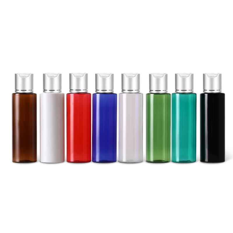 50pcs 100ml 120ml 150ml Empty Plastic Lotion Bottles Silver Aluminum Disc Top Cap Liquid Soap Travel Size Personal Care  SPA Container Shampoo