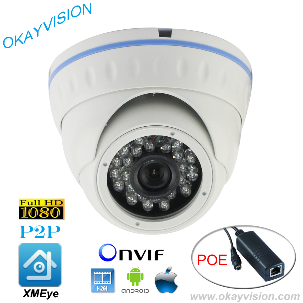 ФОТО ONVIF IR Night Vision H.264 2MP Full HD 1080P HD-IP P2P DC48V POE dome cameras XMEye APP for Smart Phone