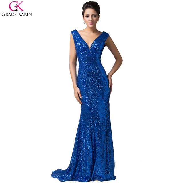 38a36a1f3f Grace Karin Celebrity Dresses 2017 Sequin V Neck Sexy Mermaid Formal Dress  Evening Party Pageant Floor Length red carpet gowns