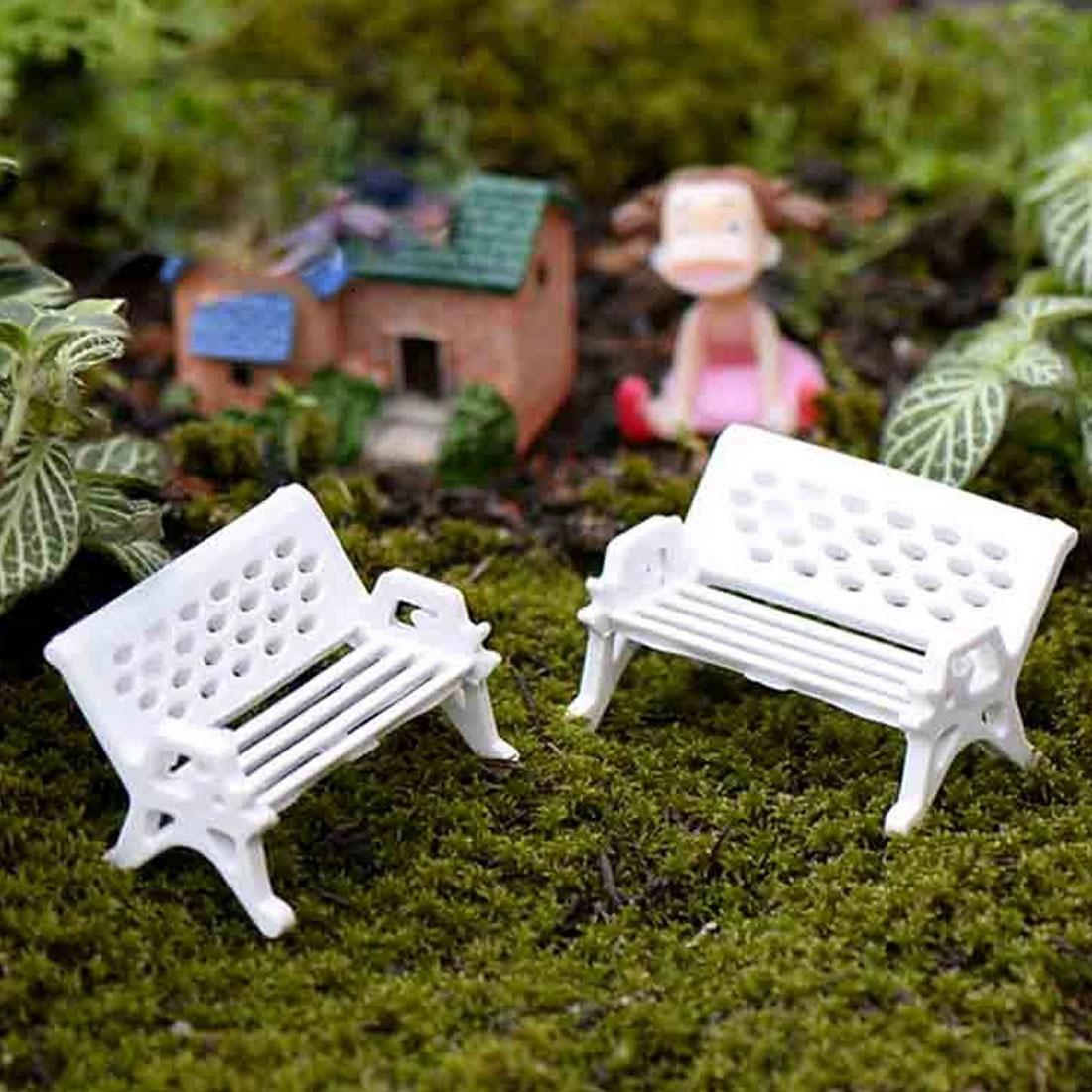 2Pcs white chair bench doll house miniatures lovely cute fairy garden gnome moss terrarium decor crafts bonsai DIY