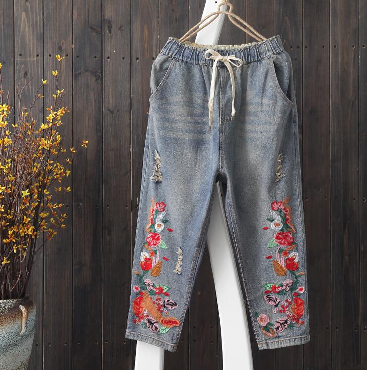 Women vintage Washed Hole Ripped Embroidery Denim Pants Jeans Ladies casual Embroidered Bleached Denim pants s712