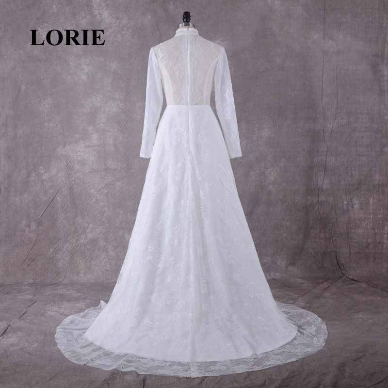Vestido De Noiva Manga Longa Gola Alta Rendas LORIE Árabe Vestidos De Casamento Muçulmanos Com um Pequeno Trem Frete Grátis vestido de Noiva 2019