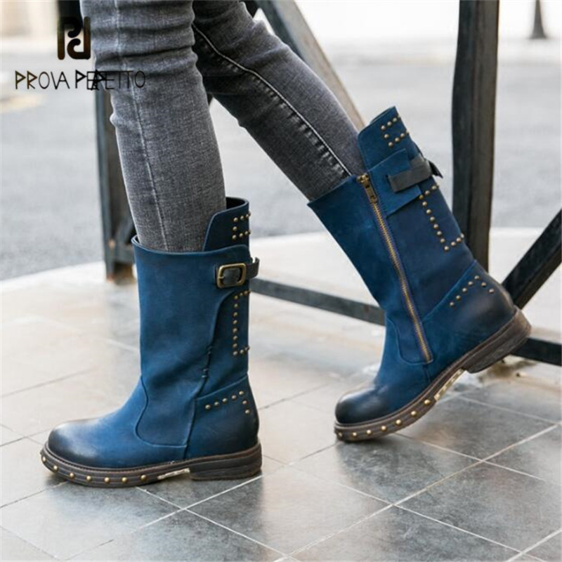 Prova Perfetto Women Blue Autumn Winter High Boots Retro Flat Knight Boot Rivets Studded Martin Boots Strap Buckle Botas Mujer prova perfetto yellow women mid calf boots fashion rivets studded riding boots lace up flat shoes woman platform botas militares