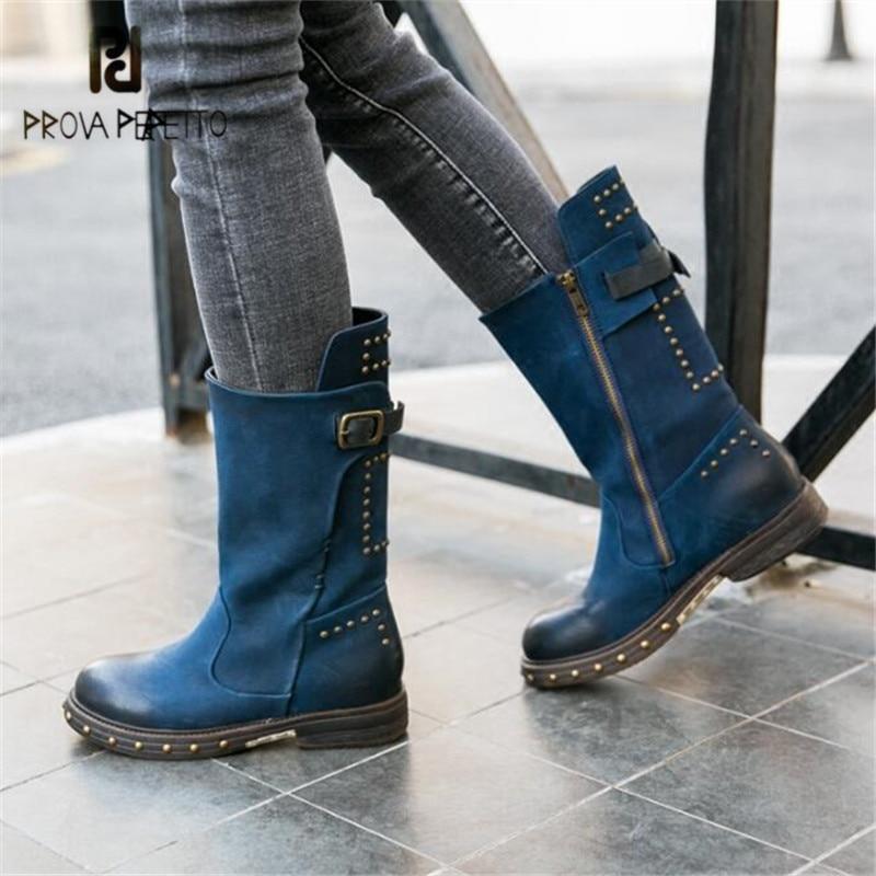купить Prova Perfetto Women Blue Autumn Winter High Boots Retro Flat Knight Boot Rivets Studded Martin Boots Strap Buckle Botas Mujer по цене 8507.85 рублей