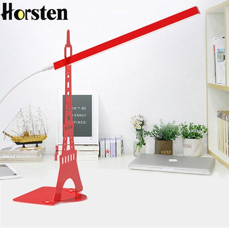Horsten Fashion Design Eiffel <font><b>Tower</b></font> LED Desk Lamp Touch Dimmer USB Charging Reading Lamp Modern Table Lamp Student Reading Light
