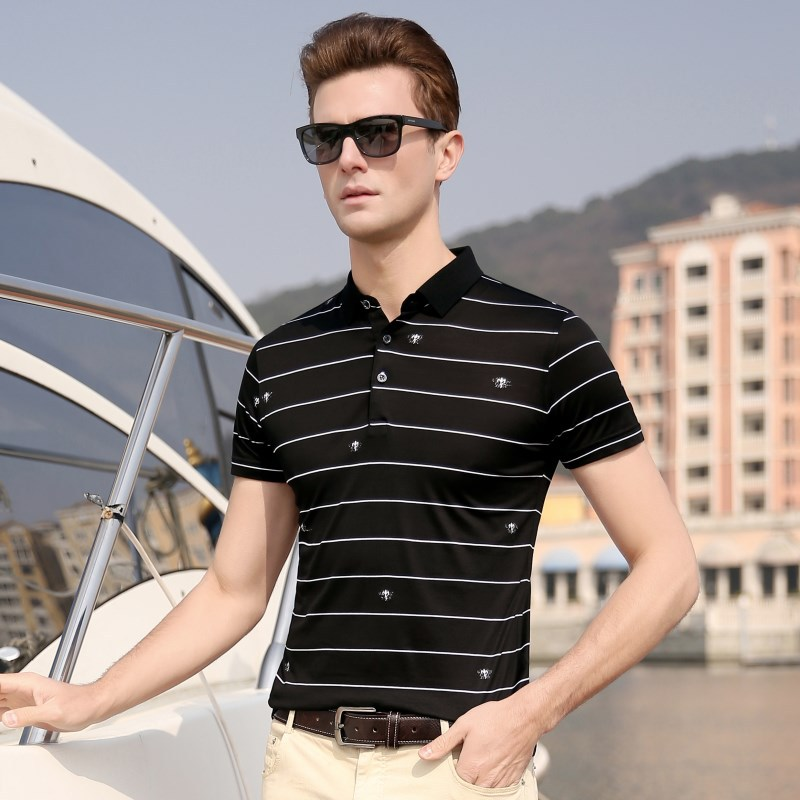 2019 Natural Silk Mens   Polo   Shirt Brands Casual Striped Short Sleeve Men   Polo   Cocodrilo High Quality Shirts   Polos   Man Homme