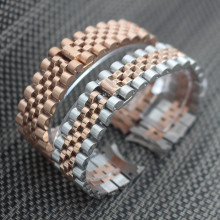 Watchband 20mm Stainless Steel Metal Watch Band Strap Bracelet Black Rose Gold