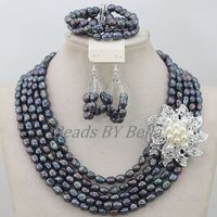 Natural Pearl Jewelry Set 5 Rolls New Nigerian Wedding African Beads Women Fashion Jewelry Necklace Sets