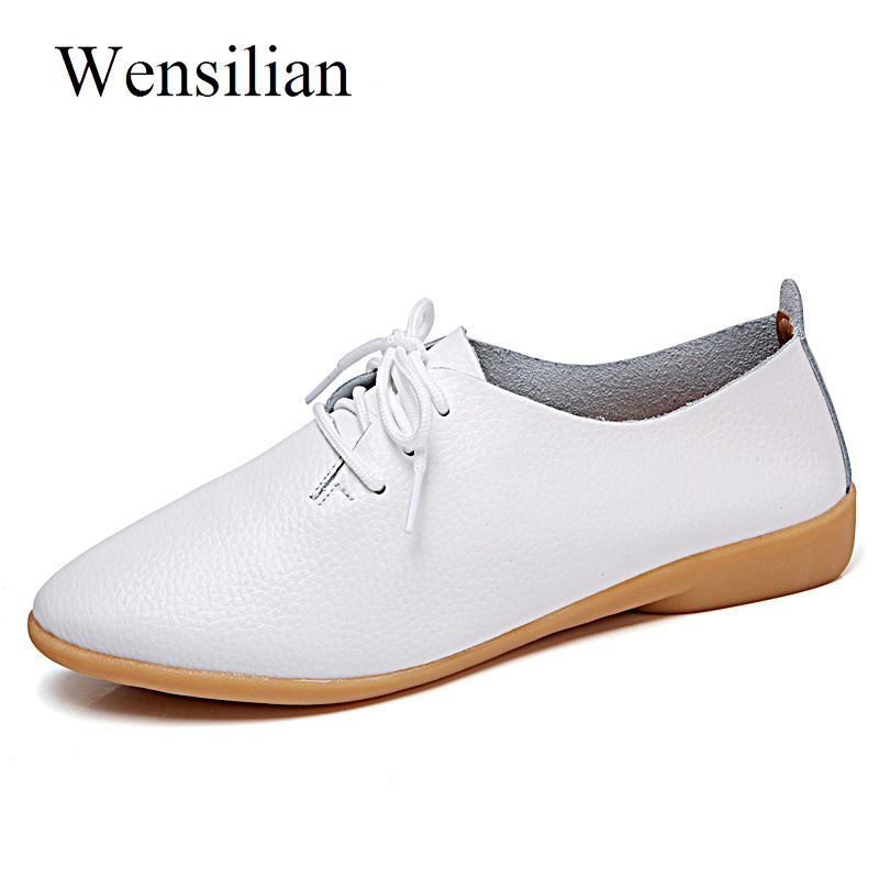 Designer Flat Shoes Women Summer Oxford Leather White Shoes Soft Bottom Lace Up Pointed Toe Flats Slip On Loafers Zapatos Mujer odetina 2017 new designer lace up ballerina flats fashion women spring pointed toe shoes ladies cross straps soft flats non slip