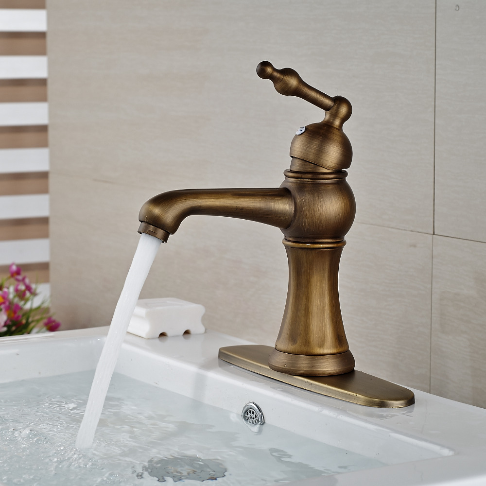 contemporary bathroom basin sink faucet single holder single hole with brass hole cover plate chrome Wholesale And Retail Antique Brass Bathroom Basin Faucet Single Handle Hole Deck Mounted Sink Mixer Tap W/ Hole Cover Plate