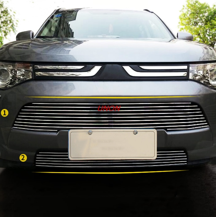 Stainless Steel Front Grille Around Trim Racing Grills Trim For Mitsubishi Outlander 2012 2013 2016 2017 2018 car styling