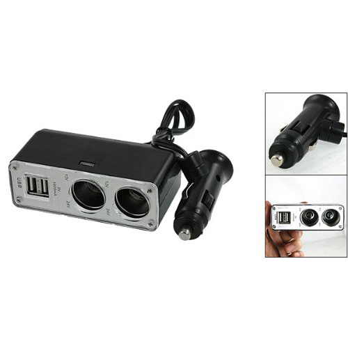 CES-New Dual Socket Car Cigarette Charger with 2 2.0 USB Port for Cell Phone GPS