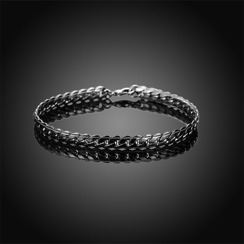 ROMAD Fashion New Link Chain Gun Black Bracelet Men Light Gold Mens Bracelets 2018 Bicycle Chain Wristband 4 Colors