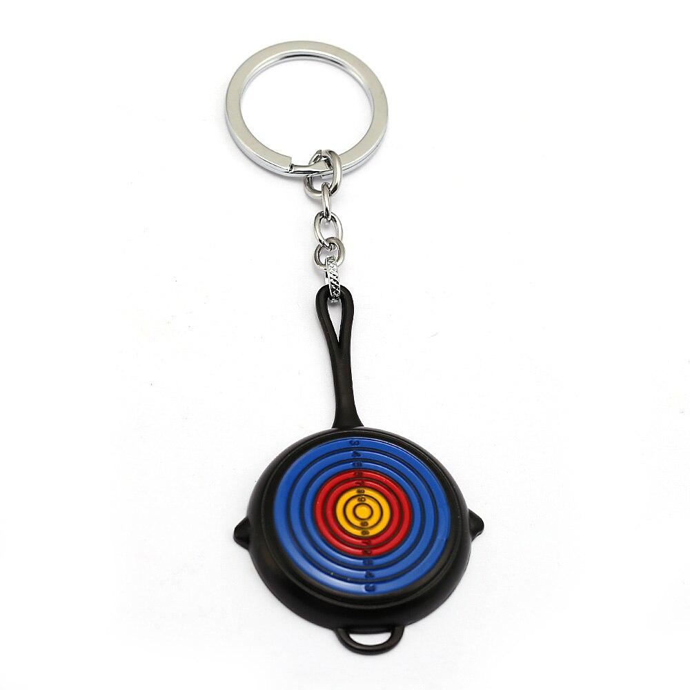 Game Jewelry New Colorful Fry Pan Pendants Keychains Battleground Playerunknowns PUBG Chaveiro Llavero Accessory 8 cm