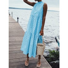 2019 Women Summer Casual Beach Dress Sleeveless Dot Print Dress Bohemian Holiday Loose Party Dress Clothes dot print swim dress