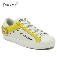 CANGMA Brand Gold Rhinestone Woman Shoes Diamond Original Genuine Leather Sneakers White Flats Bass Scarpa Womens Crystal Shoes