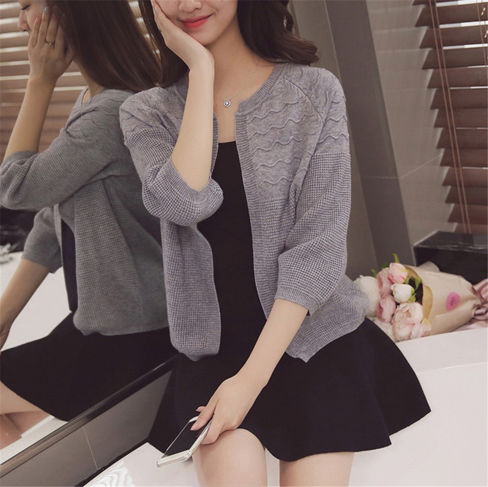2016 Spring&Autumn Casual Sweater Women Cardigan Sweater Solid Color Open Stitch Women\'s Cotton Knitted Outerwear Sweater (19)