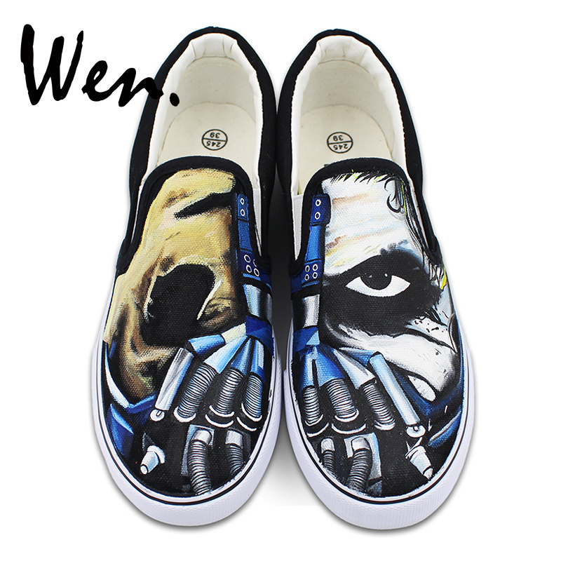 Original Design Canvas Slip on Shoes Hand Painted Creepy Half Face Mask Machine Hand Flats Sneakers for Men Women Presents replica sy30 6 5x16 5x130 d84 1 et43 sfp