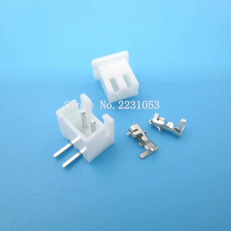 20 Sets XH2.54-2P Right Angle 2pin 2.54mm Pitch Terminal / Housing / Pin Header Connector Wire Connectors Adaptor XH-2AW Kits