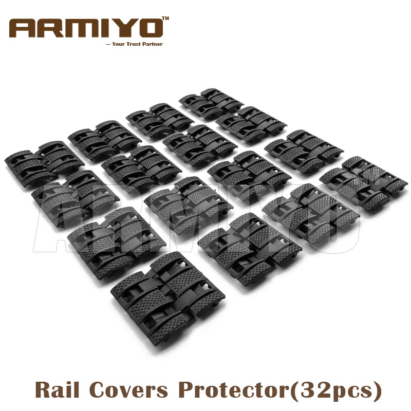 Armiyo 32 Pieces Panels Airsoft Handguard Rubber Quad Gun Rail Covers Flat Hunting Accessories Black Dark Earth Army Green