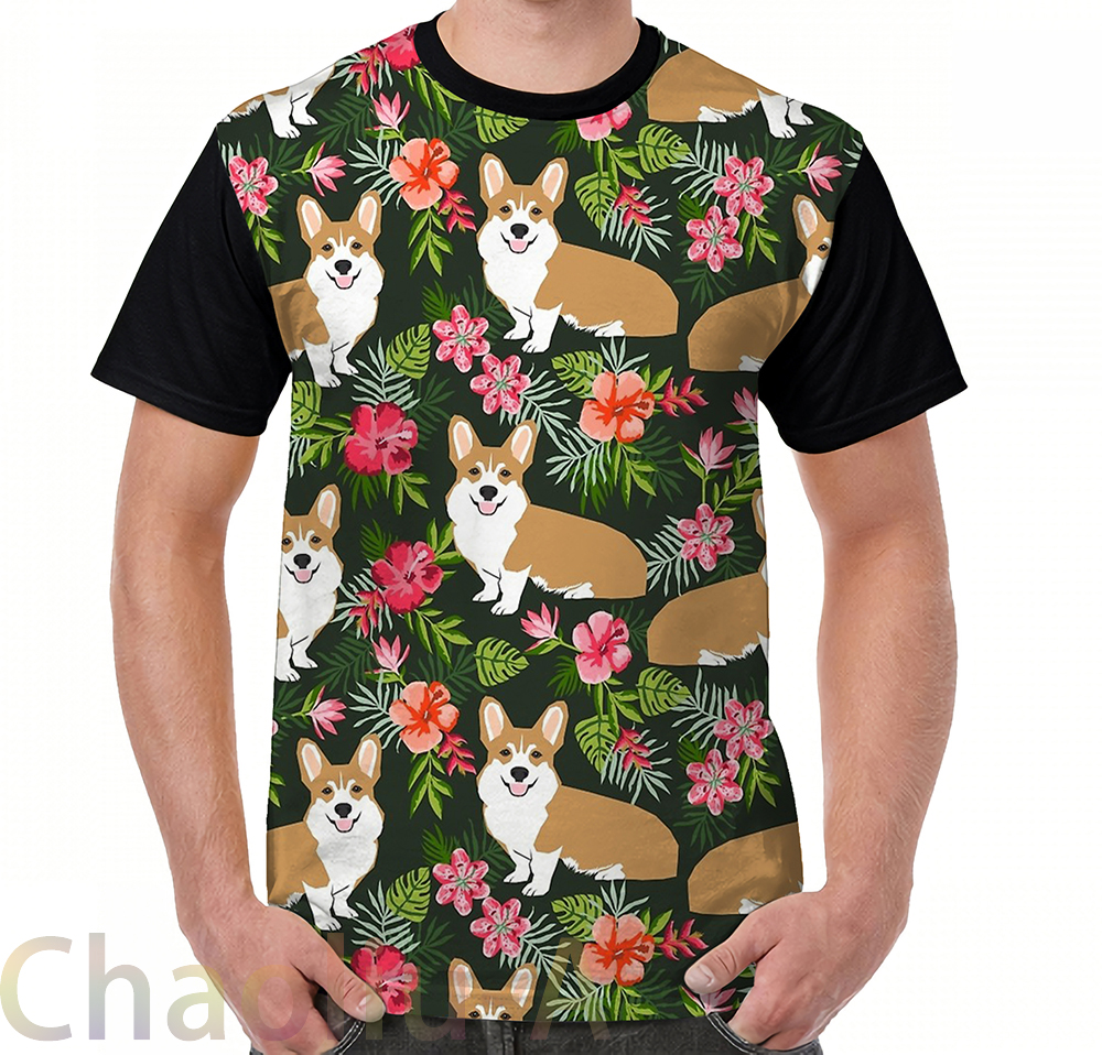 T-shirts Welsh Corgi Hawaiian Print Pattern Florals Tropical Summer Dog Breed Pet Portrait By Petfriendly T-shirt Men O-neck Women Tshirt More Discounts Surprises Tops & Tees