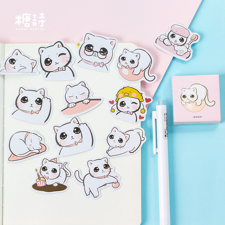 45pcs/pack Cute Ox-eyed Cat Label Stickers Set Decorative Stationery Craft Stickers Scrapbooking Diy Diary Album Stick Label