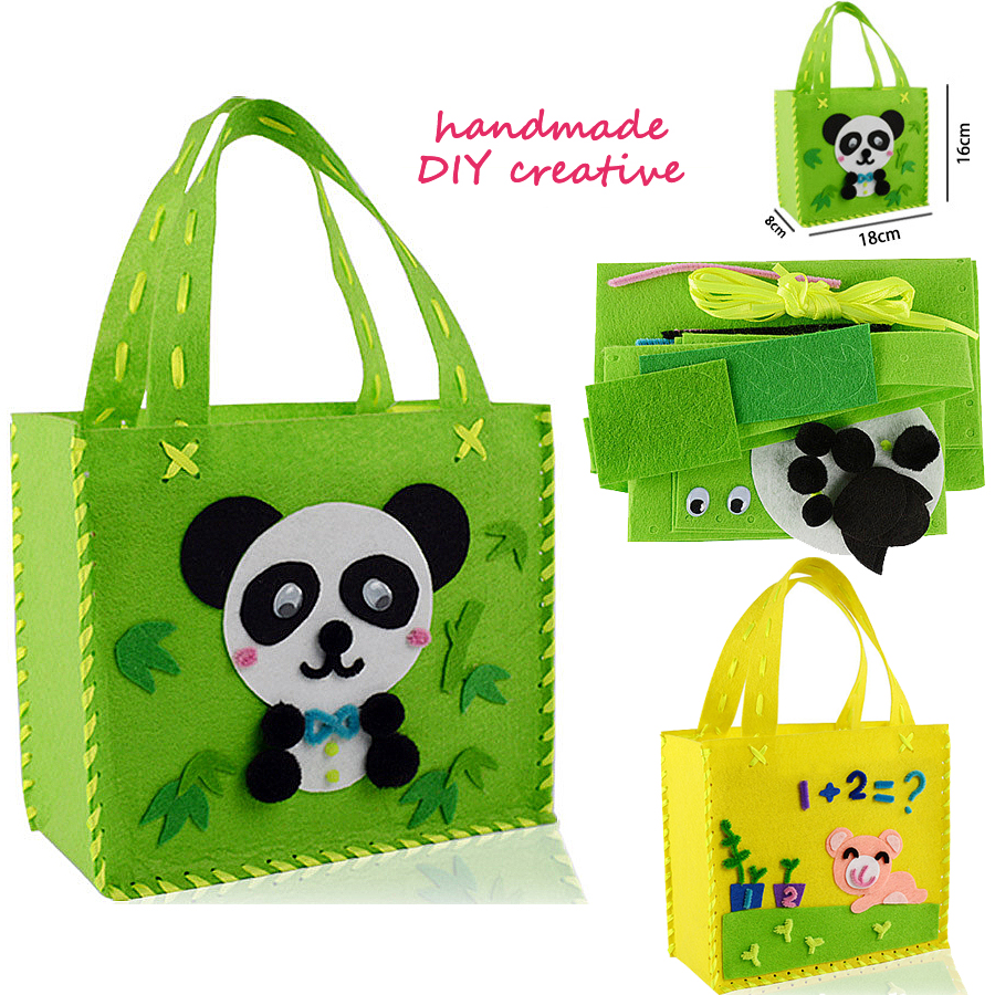 DIY Non-woven Fabric Cloth Sewing Kit For Kids Beginners Girls Sewing Project Pattern Bag Handbag Panda,dog Crafts Kits For Kids