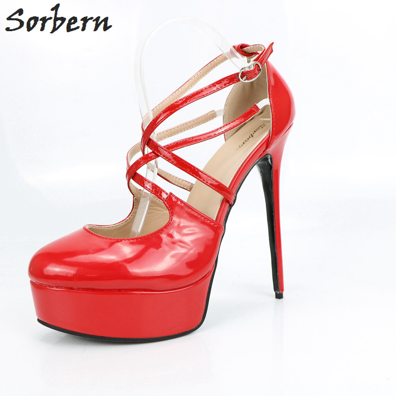 Sorbern Retro Party Dresses Shoes Ladies Pumps Pointe Toe Platform Red High Heels Patent Leather 15Cm Heels Ladies Shoes Size 12 lasyarrow brand shoes women pumps 16cm high heels peep toe platform shoes large size 30 48 ladies gladiator party shoes rm317