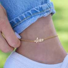 Persoanlized Stainless Steel Custom Name Anklet Heart Nameplate Leg Chain Ankle Bracelet Cheville Gold Color Synoke Boho Jewelry(China)