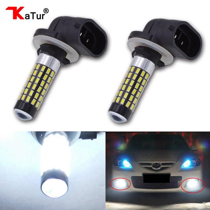 Katur 2pcs H27 Led Fog Light H27W/2 881 Auto Led Bulb Light Lamp Car Driving Running Light Driving H27W 2 LED Light 6000K White