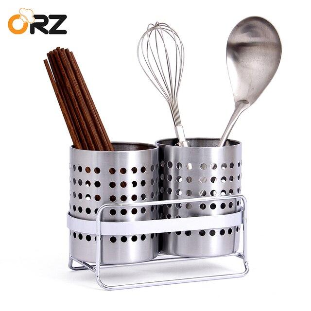 ORZ Kitchen Tableware Shelving Holder Cutlery Storage Drain Rack Shovel  Spoon Bucket Knife Fork Storage Basket
