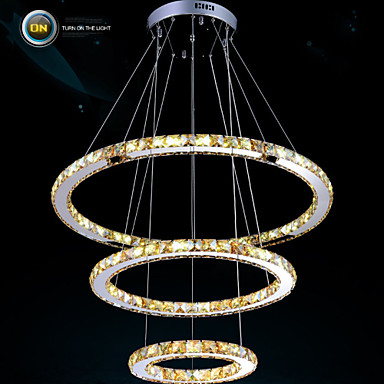 Luxury LED 90w  Amber Crystal Pendant Lights Fixtures with 3 Rings size:90+70+50cm Free shipping led luxury led amber k9 crystal pendant lights lamps fixtures with 3 ringsfree shipping110 240v