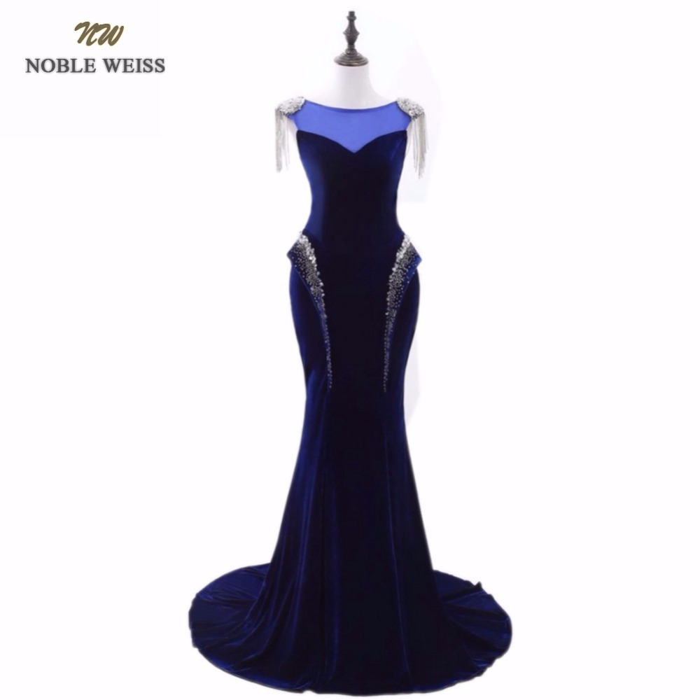 NOBLE WEISS Mermaid Evening Dresses Beading Lace-up Back Prom Gown Robe De Soiree 2019 Formal Special Occasion Gowns