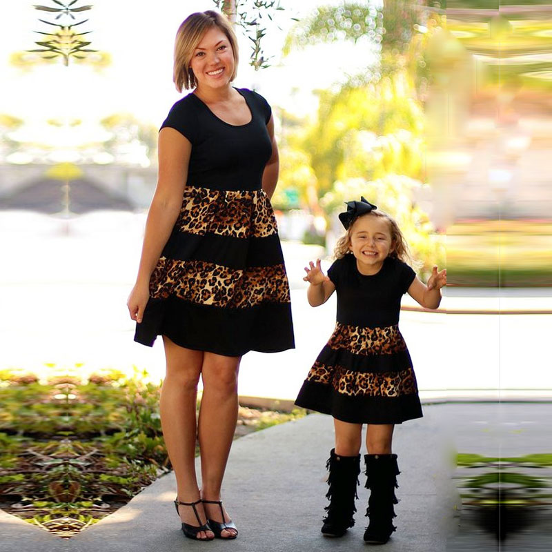 MVUPP Mother Daughter Dresses Family Matching Outfits Black Gloden Striped Mommy And Me Clothes Family Look Mom And Baby Girl