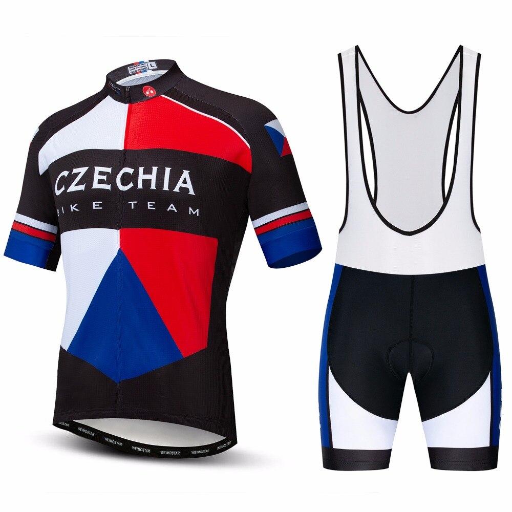 2019 Weimostar Czech Republic Bike Jersey Set Men's cycling jersey bib shorts MTB tops Mountian Road Bicycle suit Ropa Ciclismo Cycling Sets     - title=