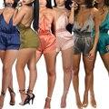 Julissa Mo Rompers Jumpsuit Womens Elástico Na Cintura Elegante Jumpsuit Mulheres Macacão Sexy Cruz Bandage Macacão Praia Playsuit