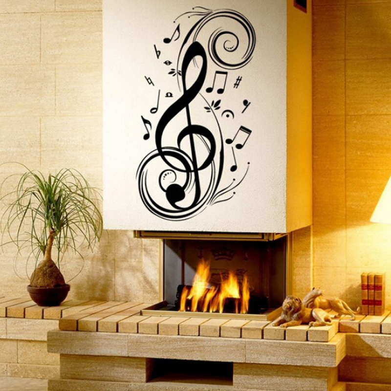 House Wall Music Stickers Decoration Wall Decals Vinyl Sticker Home Decor  Modern Graphic Wall Art For Fireplace Bedroom In Wall Stickers From Home U0026  Garden ...